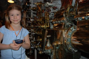 Mira in the control room of the USS Bowfin